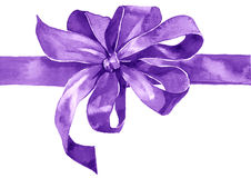 Watercolor holiday violet bow. On white background Royalty Free Stock Photo