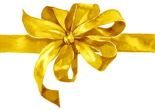 Watercolor holiday yellow gold bow. On white background Royalty Free Stock Photos