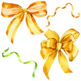 Watercolor holiday yellow ribbon bow greeting illustration. Festive decoration bunting clip art. Birthday party design elements set. Isolated on white Stock Photography