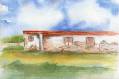 Watercolor home. Obsoleted home. Watercolor. House in nature royalty free illustration