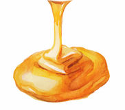 Watercolor Honey drip Stock Image