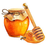 Watercolor Honey jar and honey stick. Over white Royalty Free Stock Photography