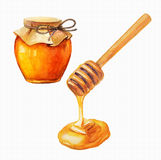 Watercolor Honey jar and honey stick Stock Image