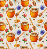 Watercolor Honey seamless pattern Royalty Free Stock Photos