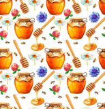 Watercolor Honey seamless pattern stock illustration