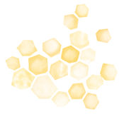 Watercolor Honeycomb. Abstract watercolor honeycomb pattern, in varying shades of yellow and orange Stock Photos