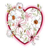 Watercolor honeysuckle and wild rose HEART Royalty Free Stock Photos