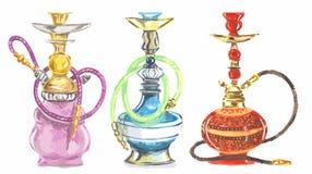 Watercolor hookah set. Royalty Free Stock Photo