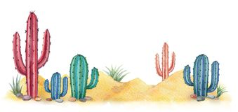 Watercolor background with desert and cacti. Watercolor horizontal background of landscape with desert and cacti. High quality illustration for travel and royalty free illustration
