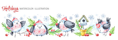 Watercolor horizontal garland. Funny birds, birdhouse, berries, leaves and snowflakes. Cretive New Year. Christmas. Illustration. Can be use in winter holidays Royalty Free Stock Images