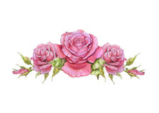 Watercolor horizontal vignette of roses Stock Photos