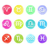 Watercolor horoscope set Stock Image