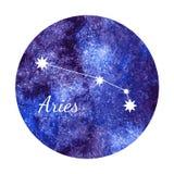 Watercolor horoscope sign aries. Beautiful vector illustration of watercolor horoscope sign aries Royalty Free Stock Photo