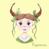 Watercolor horoscope sign capricorn Royalty Free Stock Image