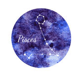 Watercolor horoscope sign Pisces Stock Photo