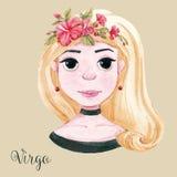 Watercolor horoscope sign virgo Stock Photos