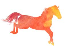 Watercolor horse silhouette Stock Images