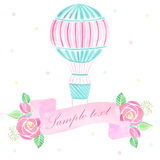 Watercolor hot air balloon background Royalty Free Stock Photography