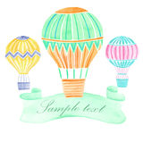 Watercolor hot air balloon background. Watercolor hand drawn hot air balloon background Royalty Free Stock Image