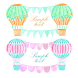 Watercolor hot air balloon background. Watercolor hand drawn hot air balloon background Royalty Free Stock Photography