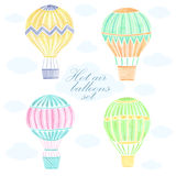 Watercolor hot air balloon background. Watercolor hand drawn hot air balloon background Stock Image