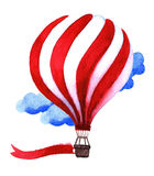 Watercolor hot air balloon. Hand drawn vintage air balloons with. Flag. Illustration  on white background. Celebration festive background with balloons. Perfect Stock Images