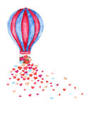 Watercolor hot air balloon and many hearts. vector illustration