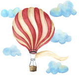 Watercolor hot air balloon set. Hand drawn vintage air balloons with clouds, banner for your text and retro design