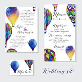 Watercolor hot air balloon on wedding invitation Stock Image