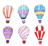 Watercolor hot air balloons set. Isolated design elements. stock illustration