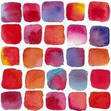 Watercolor hot summer cubes,. Watercolor hand drawn seamless pattern of colorful cubes assotiation with hot summer, abstract background stock illustration