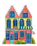 Watercolor house `Bakery` Stock Photos
