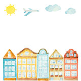 Watercolor house, clouds, airplane Stock Photography