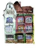 Watercolor house of Timisoara, Romania Stock Image