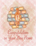 Watercolor house warming congratulation card Royalty Free Stock Photo