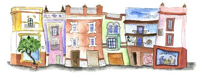 Watercolor houses in the center of Seville. Watercolor set of buildings in the historic center of Seville, Spain. There`s a greengrocer, a bookshop and a market Stock Photos