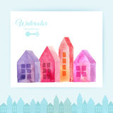 Watercolor houses, city painted with splashes of watercolor drops streaks landmarks Royalty Free Stock Images