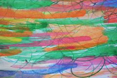 Watercolor hues and pencil lines, abstract background Stock Photography