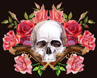 Watercolor human skull Royalty Free Stock Photos