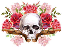 Watercolor human skull. With guns and roses. Hand painted illustration Royalty Free Stock Photos