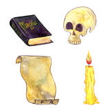 Watercolor human skull. Magic set, watercolor human skull, magician book, cndle and parchment, cartoon halloween symbols,hand drawn illustration,isolated design Stock Photos