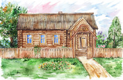 Watercolor hut house and garden in village Stock Photos