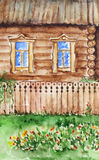 Watercolor hut house and garden in village Stock Images