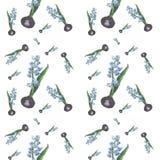 Watercolor hyacinth ornamental pattern Royalty Free Stock Photos