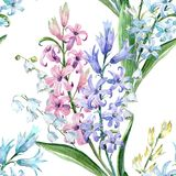 Watercolor hyacinth pattern. Watercolor spring floral pattern with lilies of the valley and hyacinths Stock Photo