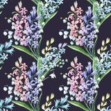 Watercolor hyacinth pattern. Watercolor spring floral pattern with lilies of the valley and hyacinths Royalty Free Stock Photos