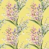 Watercolor hyacinth pattern. Watercolor spring floral pattern with lilies of the valley and hyacinths Stock Images