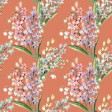 Watercolor hyacinth pattern. Watercolor spring floral pattern with lilies of the valley and hyacinths Stock Photos