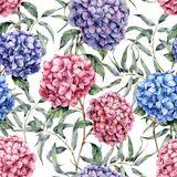 Watercolor hydrangea and eucalyptus pattern. Hand painted blue, violet, pink flowers with eucalyptus leaves and branch. Isolated on white background. Nature vector illustration