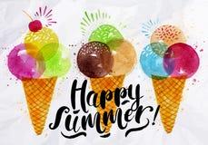 Watercolor ice cream cones Stock Image